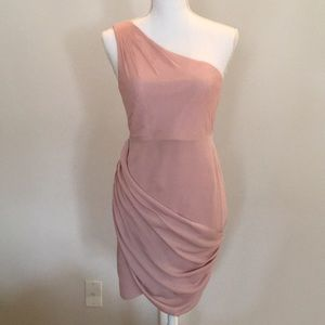 Alice and Olivia. One Shoulder Drape Accent Dress